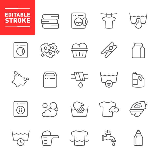 Laundry Icons Laundry, cleaning, washing, editable stroke, outline, icon, icon set, washing machine, laundry detergent, dry cleaning laundry basket stock illustrations