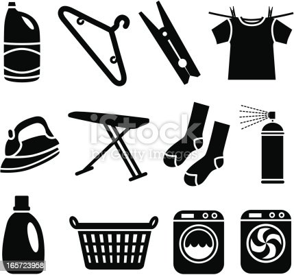 Vector icons with a laundry theme.