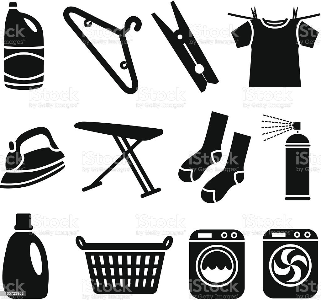 laundry icons vector art illustration