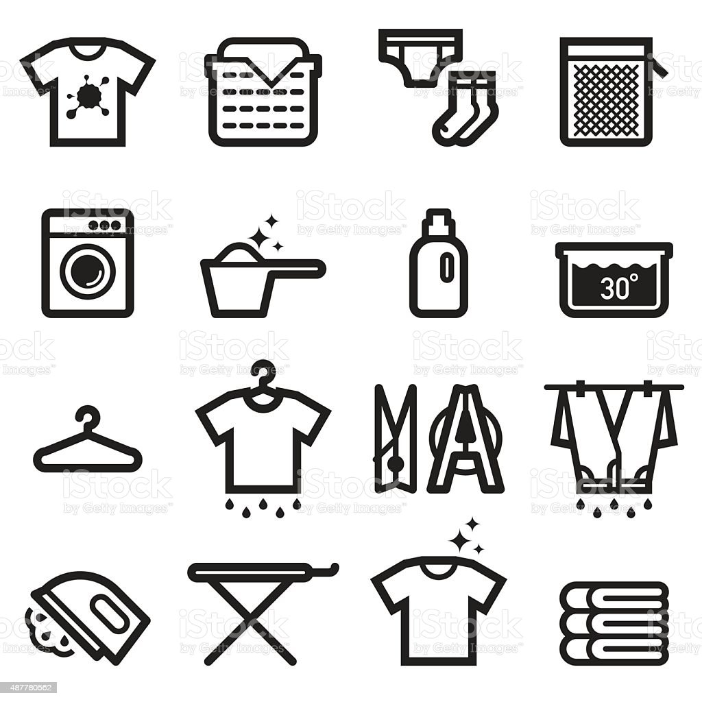 Laundry Icons Stock Vector Art Amp More Images Of 2015
