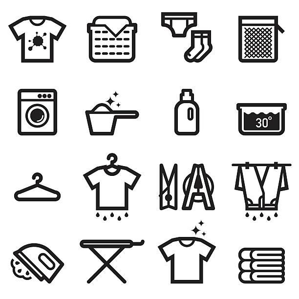 Laundry Icons Laundry Icons laundry basket stock illustrations
