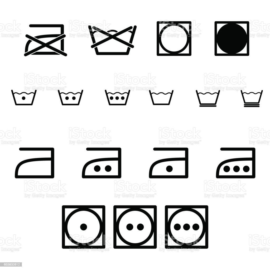 Laundry Symbols Art Laundry Iron Washing Symbols Icon Set Stock Vector Art 653832612