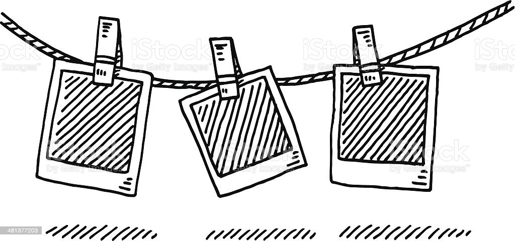 Laundry Line Blank Photographs Drawing vector art illustration