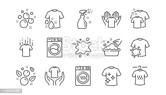 istock Laundry line icons. Dryer, Washing machine and dirt shirt. Linear set. Vector 1155402687