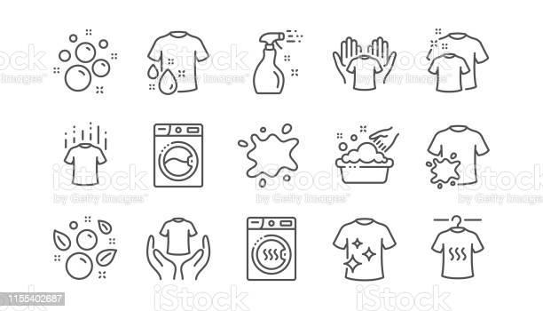 Laundry line icons dryer washing machine and dirt shirt linear set vector id1155402687?b=1&k=6&m=1155402687&s=612x612&h=ndd56bdicyqclqa5u7ces9njsp9wj9gav ae6q3 sjg=