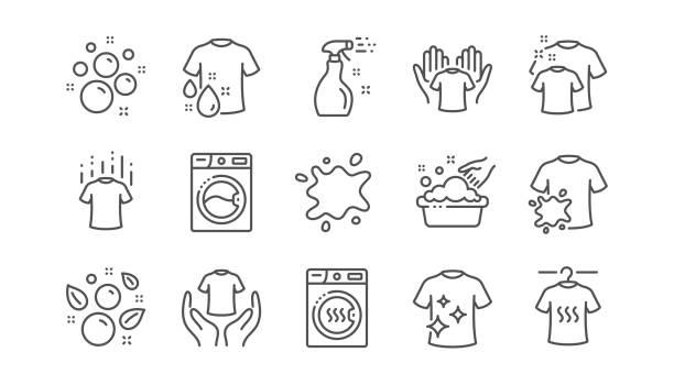 洗衣線圖示。烘乾機、洗衣機和污垢襯衫。線性集。向量 - 清新 幅插畫檔、美工圖案、卡通及圖標