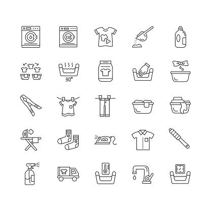 Laundry Line Icons. Editable Stroke