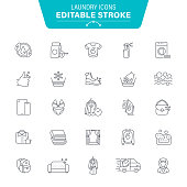 Clothing, Dress, Laundry, Denim, Accessories, Jewelry, Editable Stroke Icon Set