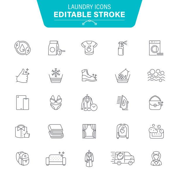 laundry line icons - futro tkanina stock illustrations