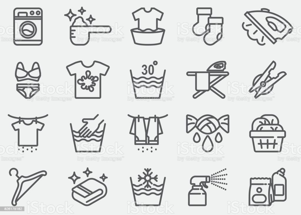 Laundry Line Icons vector art illustration