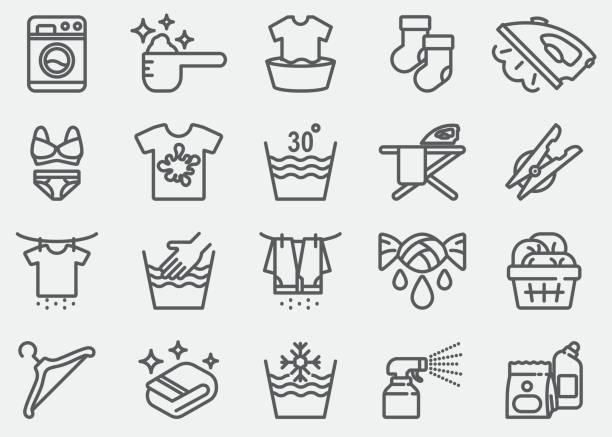 wäsche-linie-icons - waschmaschine stock-grafiken, -clipart, -cartoons und -symbole