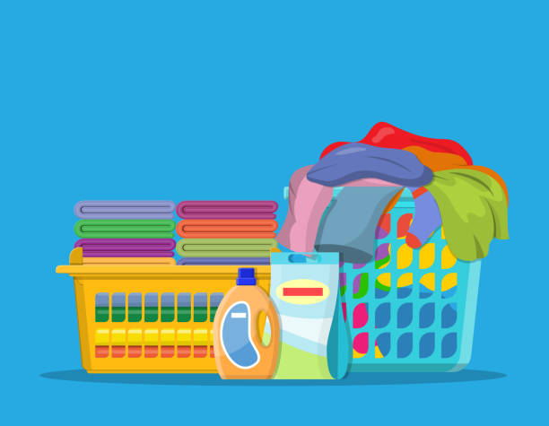 laundry linen or clothes in baskets - składany stan stock illustrations