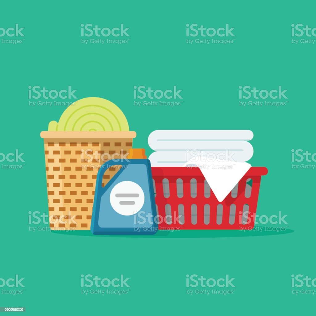 Laundry linen or clothes in baskets vector illustration flat cartoon, cleaning or washing service concept vector art illustration