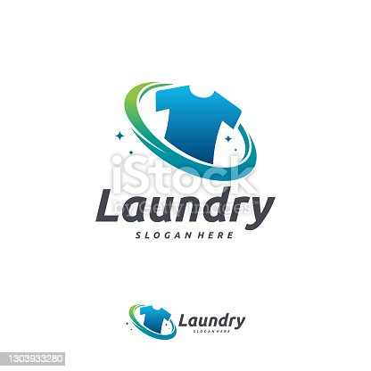istock Laundry Logo designs, Cloth Wash logo designs concept vector template 1303933280
