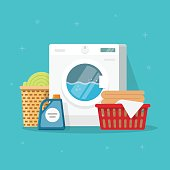 Laundry machine with washing clothing and linen vector illustration, flat carton style washer with baskets of clothes and detergent, concept of domestic housework clipart