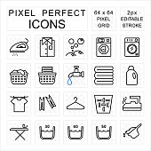 Laundry pixel perfect icon set with washing and housework concept editable 2 pixel stroke