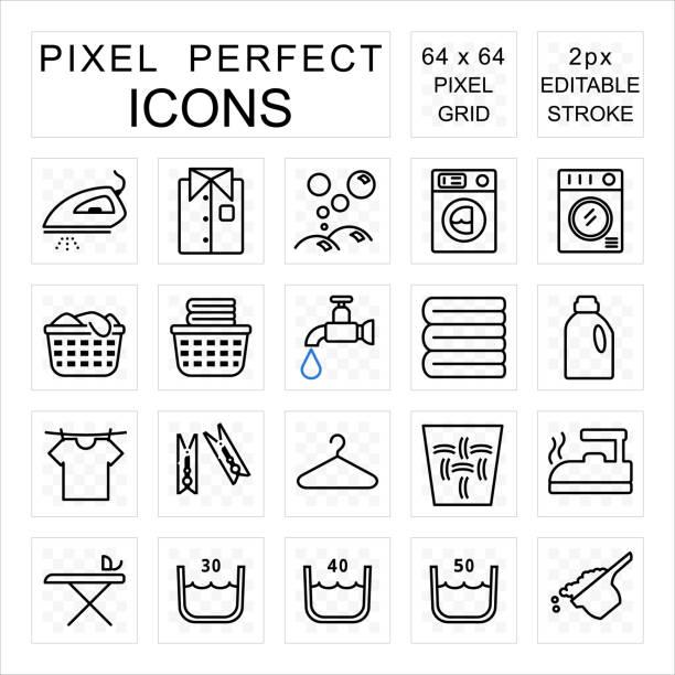 wäscheklauch perfektes icon-set mit wasch-und hausaufgabe-konzept - waschmaschine stock-grafiken, -clipart, -cartoons und -symbole