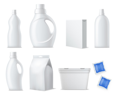 Laundry products mockup. Realistic clean white plastic bottles, containers and packs, washing powders, capsules packaging and gels. Household cleaning products vector 3d isolated set