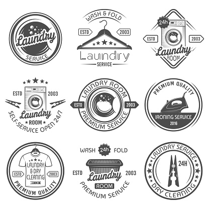 Laundry room and dry cleaning service, ironing service set of vector black emblems, labels, badges and design elements isolated on white background. Laundry s templates with washing machine