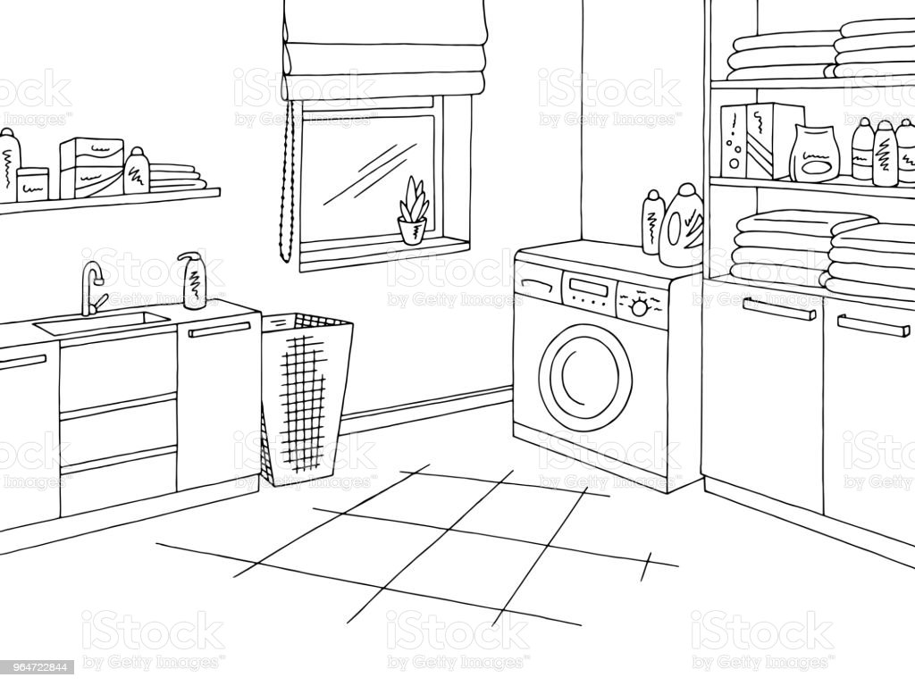 Laundry room home interior graphic black white sketch illustration vector royalty-free laundry room home interior graphic black white sketch illustration vector stock vector art & more images of architecture
