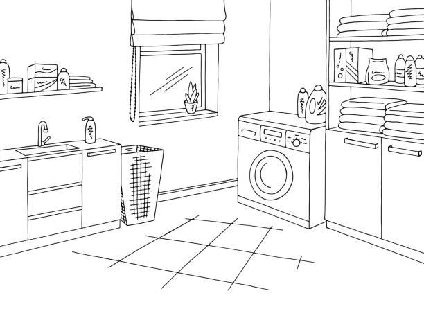 wäscherei zimmer nach hause innen grafik schwarz weißen skizze abbildung vektor - schrankkorb stock-grafiken, -clipart, -cartoons und -symbole