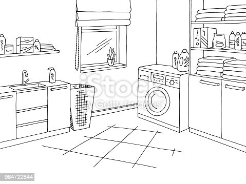 Laundry Room Home Interior Graphic Black White Sketch Illustration Vector Stock Vector Art & More Images of Architecture 964722844