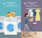 Laundry room interior vector background with iron, and washer machine, powder and clothes set.