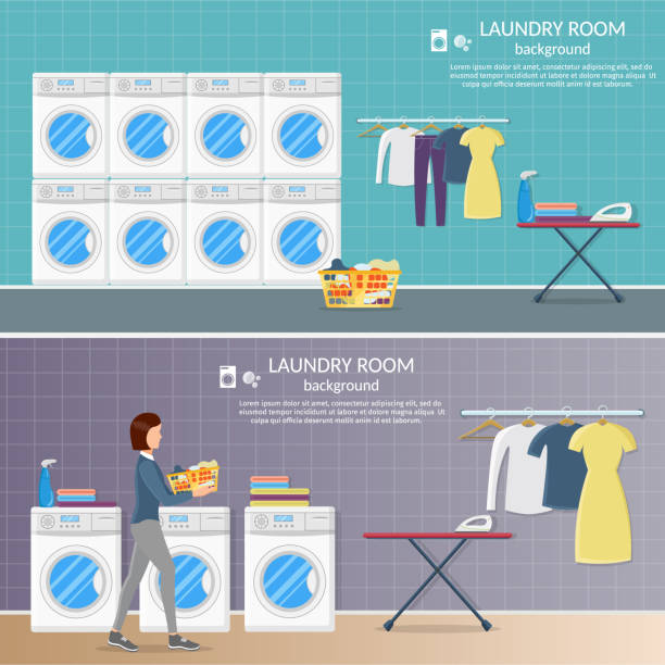 raumhintergrund innenraum vektor wäsche mit eisen, und waschmaschine maschine, pulver und kleidung. - schrankkorb stock-grafiken, -clipart, -cartoons und -symbole