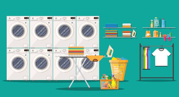 Laundry room interior with washing machine Laundry room interior with washing machine, ironing board, iron, clothes rack, household chemistry cleaning, washing powder and basket. Vector illustration in flat style laundry basket stock illustrations