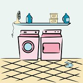 A vector washer/dryer and other laundry room items. No gradients used. Zip file includes .ai CS and .eps 8.
