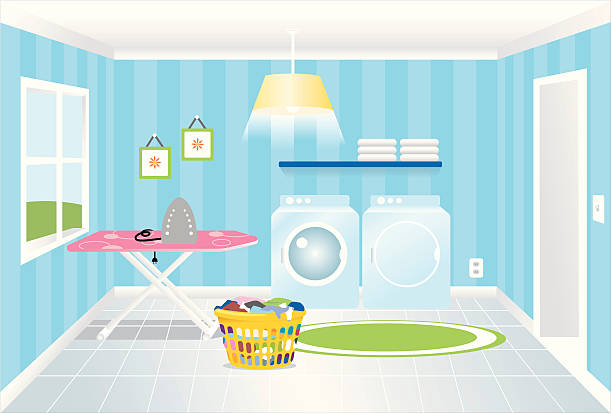 Laundry Room Blue laundry room with washer and dryer and laundry basket laundry basket stock illustrations