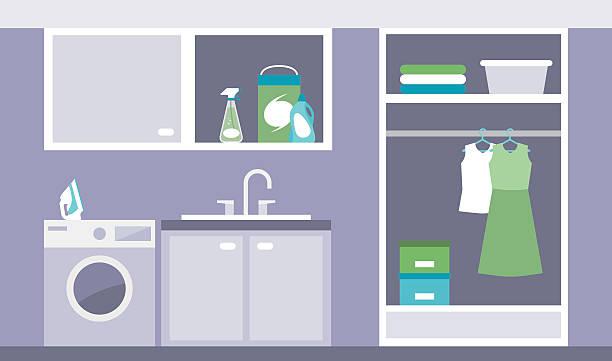 Laundry room Modern laundry room with washing machine, iron and wardrobe laundry basket stock illustrations