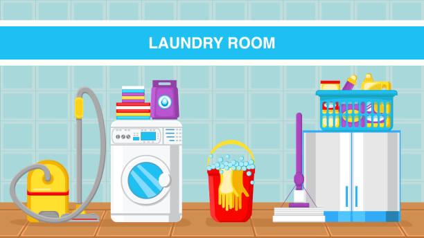 wäscherei web banner vector vorlage mit text - schrankkorb stock-grafiken, -clipart, -cartoons und -symbole