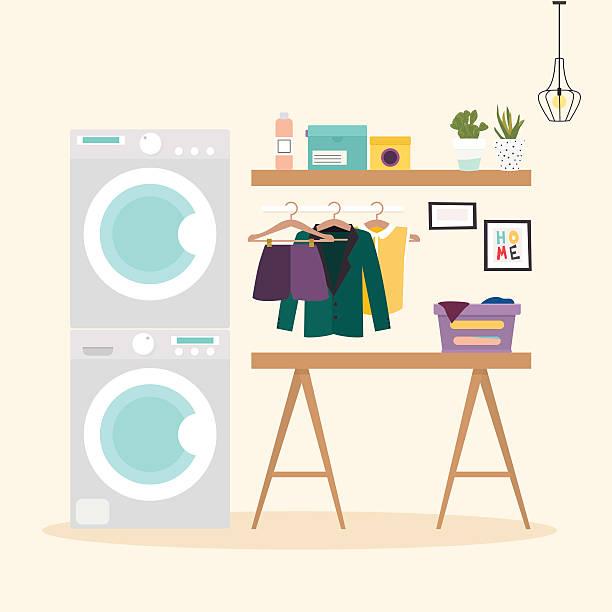 laundry room with facilities for washing. wash machine, flasket, - schrankkorb stock-grafiken, -clipart, -cartoons und -symbole