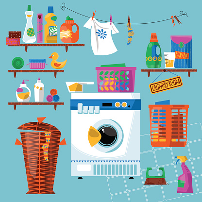 Laundry room with washing appliances and accessories.