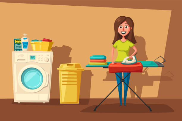 Laundry room with washing machine and housewife. Cartoon vector illustration Laundry room with washing machine, ironing board, clothes, facilities for washing and housewife. Cartoon vector illustration. Character design. For web and print. Cleaning theme laundry basket stock illustrations