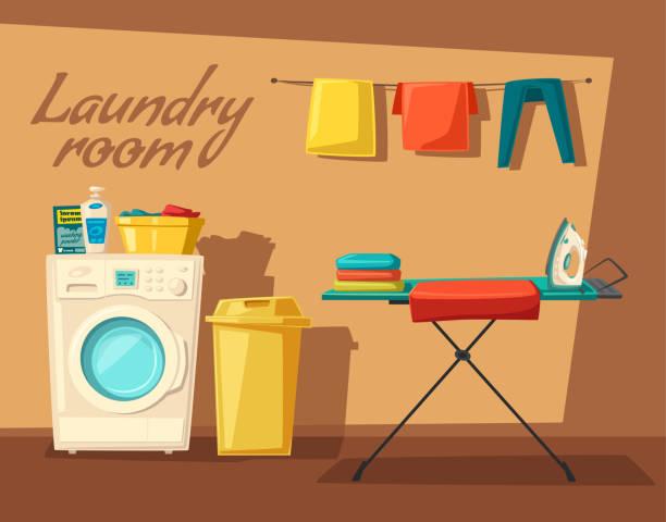 stockillustraties, clipart, cartoons en iconen met wasruimte met wasmachine en huisvrouw. cartoon vectorillustratie - opslagruimte