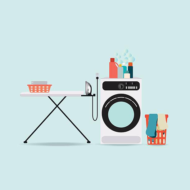waschküche mit waschmaschine und bügelbrett. - weichspüler stock-grafiken, -clipart, -cartoons und -symbole