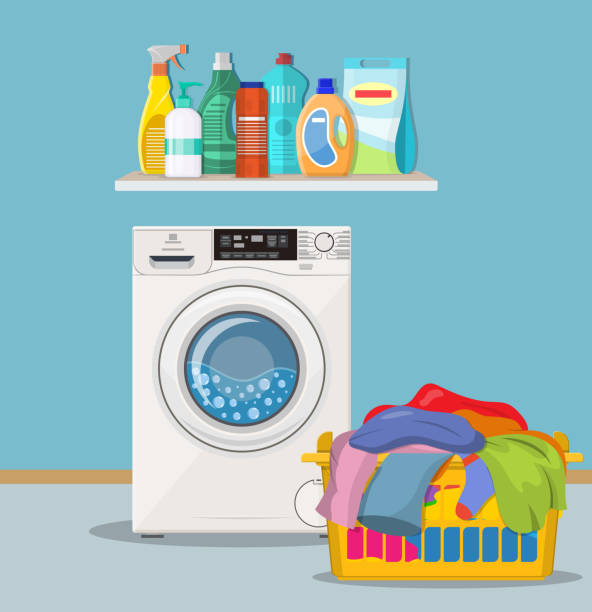 waschküche mit waschmaschine - waschmaschine stock-grafiken, -clipart, -cartoons und -symbole