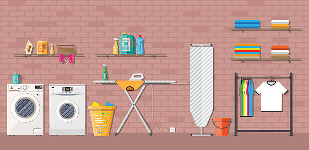 laundry room with washing machine - waschmaschine wand stock-grafiken, -clipart, -cartoons und -symbole
