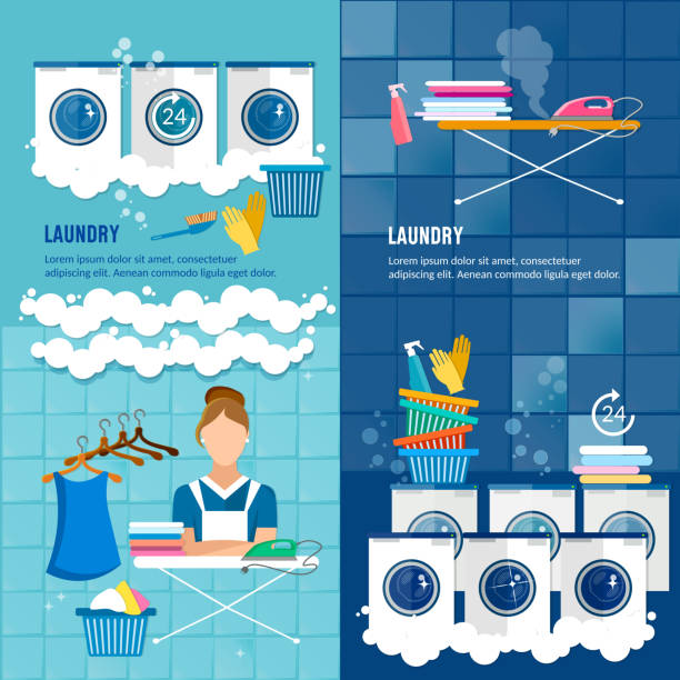 Laundry room with washing machine Laundry room with washing machine, ironing board, clothes rack, household chemistry cleaning, washing powder and basket. Laundry service banner dry cleaning clothes banner. laundry basket stock illustrations