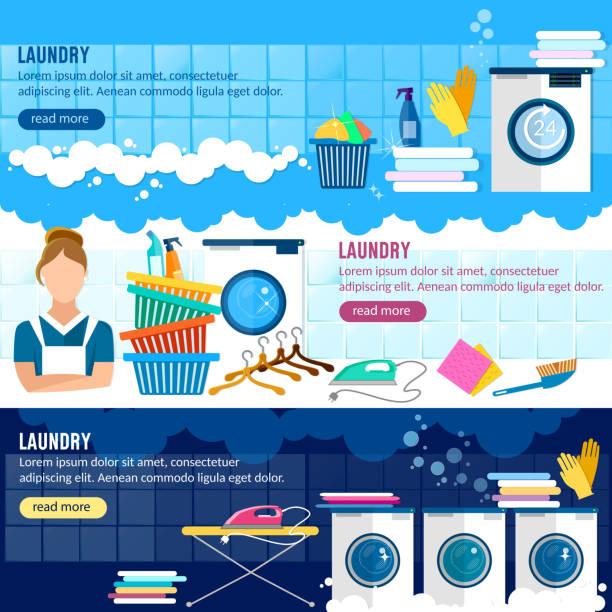 Laundry service banner, laundry room vector art illustration
