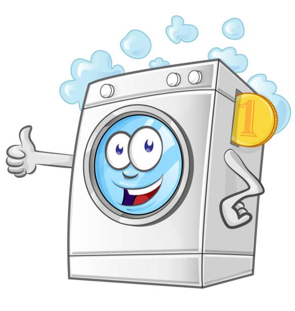 Laundry service cartoon with coin. vector vector art illustration