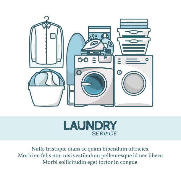 Laundry service concept vector illustration in modern flat linear style Laundry service concept vector illustration. Creative linear flat design element for web banners, posters, flyers and printed materials. laundry basket stock illustrations