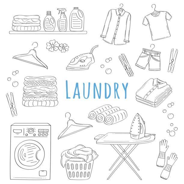 laundry service hand drawn doodle icons set, vector illustration - washing machine stock illustrations, clip art, cartoons, & icons