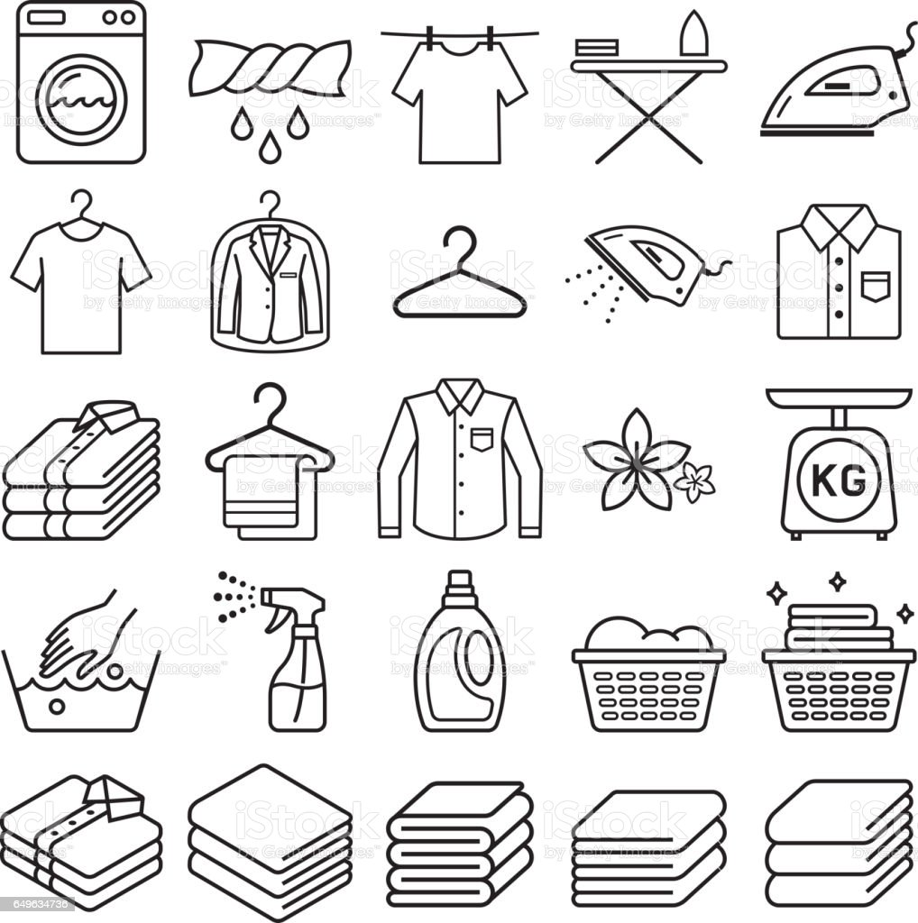 laundry service icons. vector art illustration