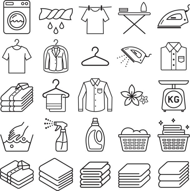 laundry service icons. - disinfectant stock illustrations