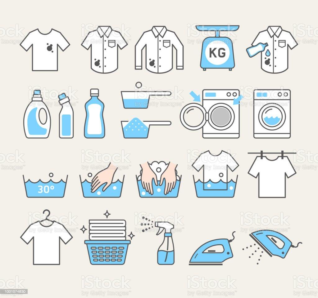 laundry service icons. Vector illustrations. vector art illustration