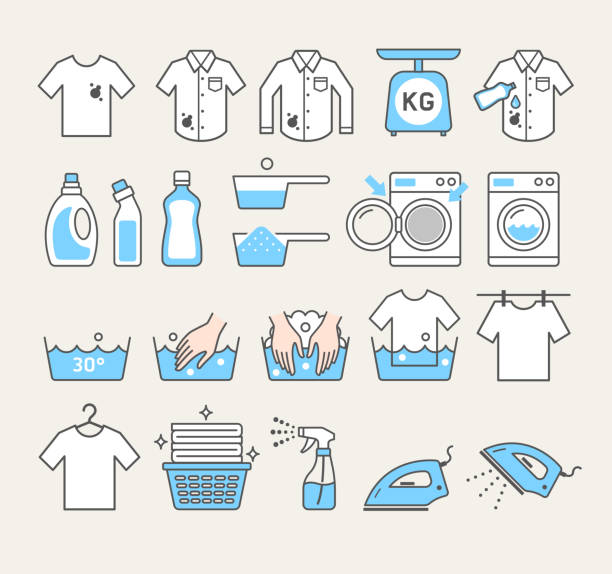 laundry service icons. vector illustrations. - disinfectant stock illustrations