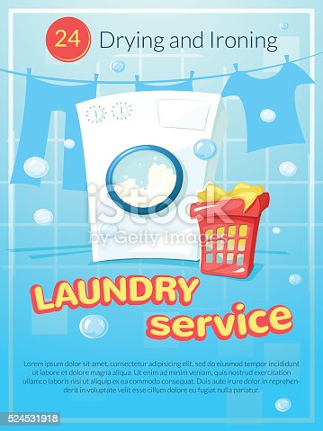 Laundry Service Poster Vector Illustration Stock Vector